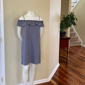H&M off the shoulder black and white plaid dress